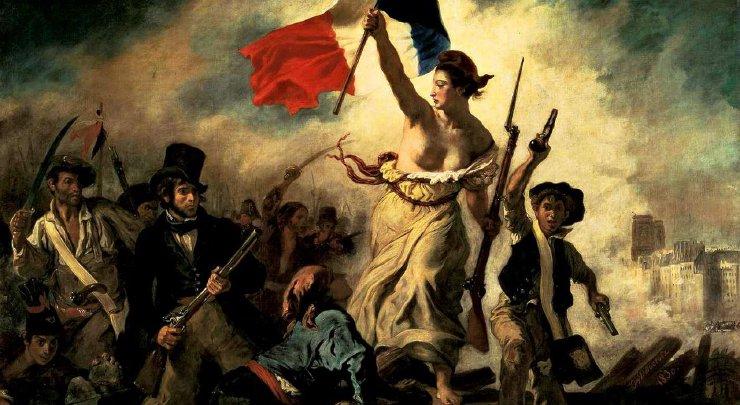 Fotografia obrazu Wolność wiodąca lud na barykady autorstwa Eugène'a Delacroix