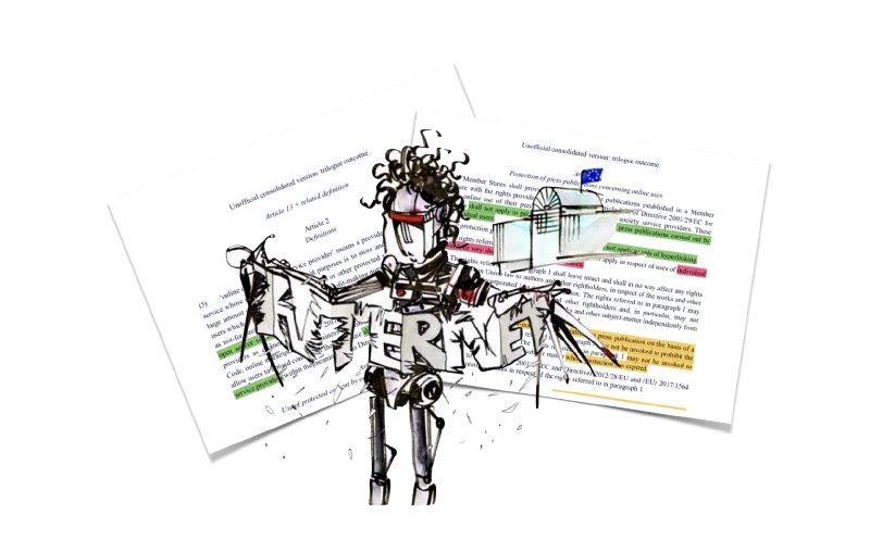 Kadr zanimacji przeciwko dyrektywie UE wsprawie praw autorskich